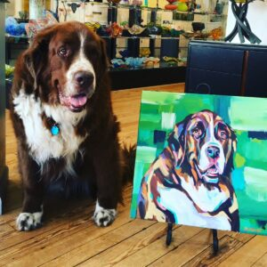 Angus posed for one of the pet portraits, Memphis, TN art gallery