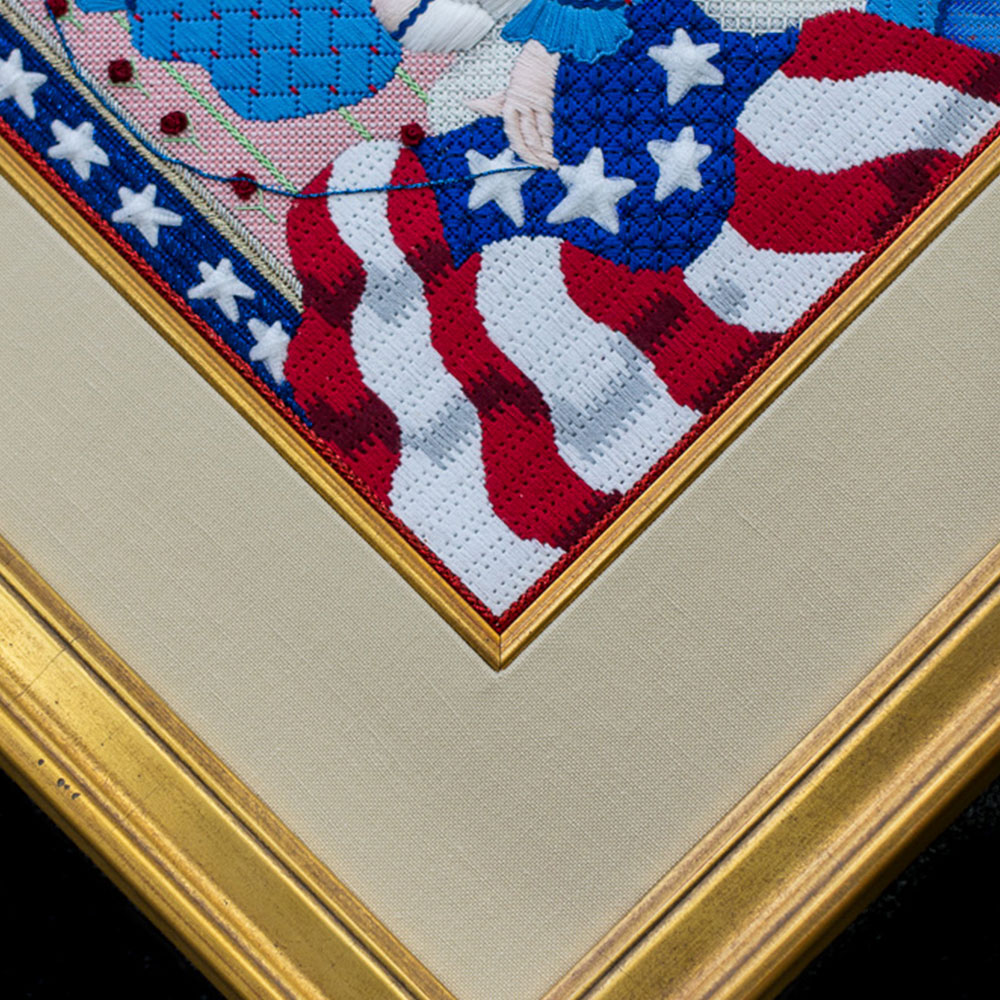 moulding detail of Betsy Ross-inspired work in our frame shop